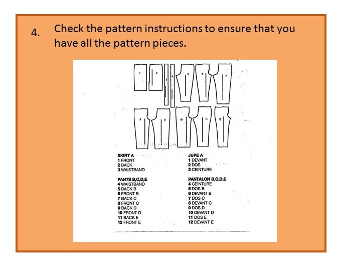 Before you cut out your pattern - step four