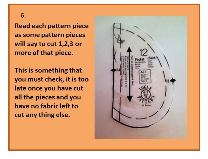 Before you cut out your pattern - step six
